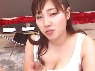 Accidental mouth cum - Japanese guy cum accidentally between tits