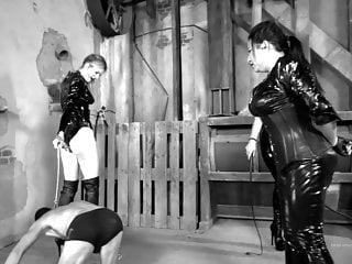 Fetish high heel trample Fetish girl in boots plays with slave, trampling, femdom.