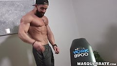 Bearded guy Zack Lemec shows off his muscles during jerk off