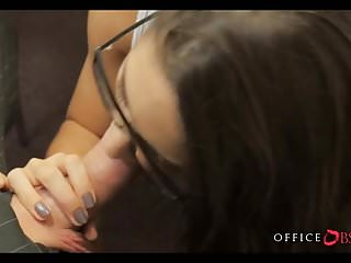 Xxx big ass babes - Brunette babe with glasses getting dick during office hours