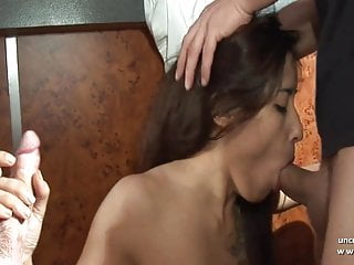 Double anal double vaginal - Pretty french brunette double vaginal penetrated in a bar