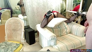Stepmom got stuck and stepson put his dick in her to help