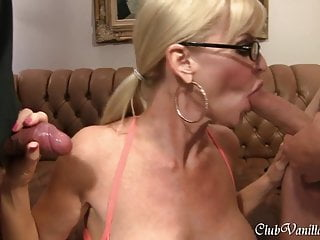 Cum all over her - Busty blonde milf getting cum all over her face and ass