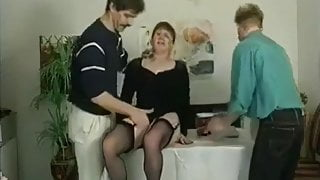 German granny in black stockings used by 2 boys