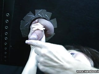 Torture hang by penis or testicle Milf bites testicles during femdom gloryhole handjob