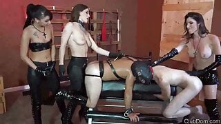 3 Cruel Mistresses love dominating male slaves