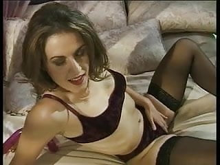 Sex in lingerie video Brunette in lingerie and leggings pleasures herself at home alone