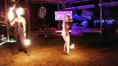 Nerdy Public Fire Anal Plug Dance