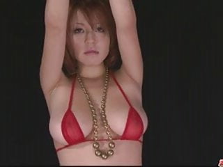 Korean in tight bikini - Busty babe in tight red bikini stripping off and toyed