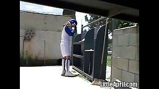 Little April loves baseball games and fingering
