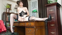 Brunette JOI flaunts big natural tits juicy pussy in nylons