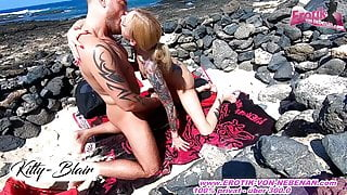 Sex on the beach on vacation with German amateur teen