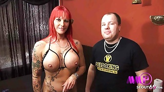 German Redhead MILF Julia Exclusively in Rough MMF Threesome