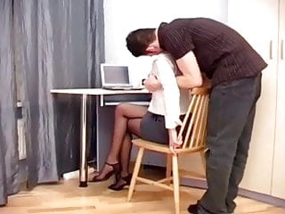 Nerdy secretary fucking - Secretary fucking in sheer crotchless hosiery