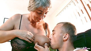 Big Saggy Tits Old Granny Seduce Virgin Grand Son to Fuck