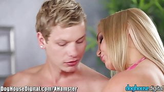 Doghouse Bisexual Anal Threesome with Blonde