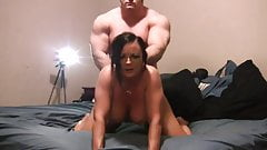 He is banging her hard from behind