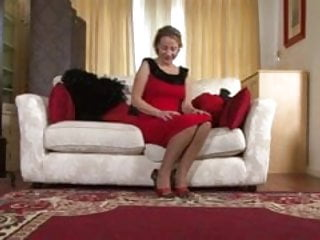 Masturbation in red stockings Tiffany t - lady in red