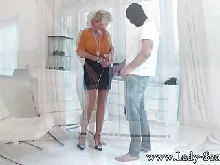 Bdsm lady sonia - Lady sonia used by masked guy - blowjob and cum on tits