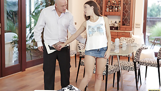 DADDY4K. Excited teen permits BF's daddy to fuck her cunt