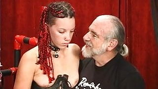 Slut with long braided hair get her tush beaten red by old master