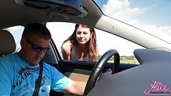 Brunette Paid Taxi Driver Blowjob and Hard Rough Sex