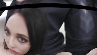 Brunette slut gets filled up by a Black cock