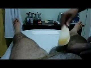 Bikini wax position - Handjob after waxing cock