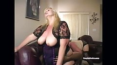Lucky man face sat by two big tits BBWs