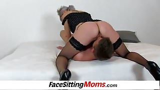 Hot legs stockings and facesitting feat. MILF Beate