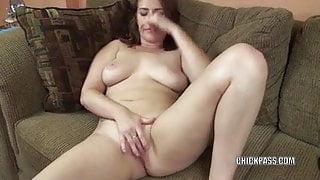Redhead coed Alisha Adams makes her tight twat cum hard