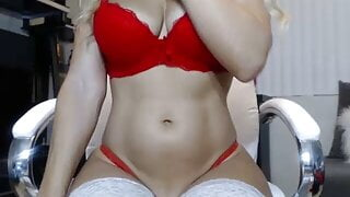 Beautiful angle in red outfit