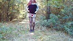 Crossdresser Dropping Panties in the Woods