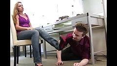 Slave under her desk