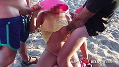 Horny Gangbang with Strangers at the Beach