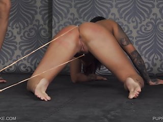 Rubber band ball bondage Lezdom pussy torture by rubber band shots