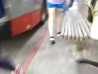 Track voyeur Bus cam 6: track shorts hot legs