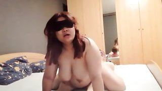 Chubby mom rides stepson cock