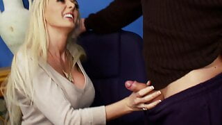 Hot blonde sucks and titty fucks dude with her huge boobs