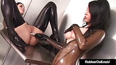 Kinky Rubber Lover January Seraph Dildo Fucked By RubberDoll