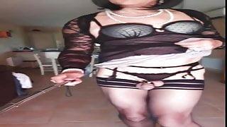 Black stockings, garter belt and nightie