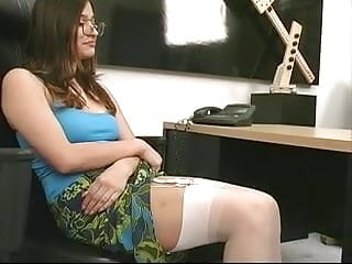 Girl pleasuring with dildos Chick in glasses strips and uses dildo for pleasure