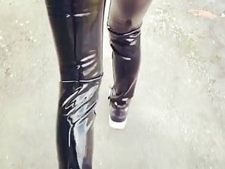 Pvc vinyl replacement strip Shiny vinyl pvc latex leggings pants
