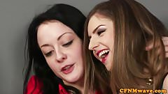 CFNM brit babes give three handed wankjob
