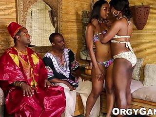 Ebony pornstars by name - Ebony pornstars receive cum in their mouths during foursome