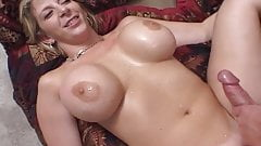 Tattooed busty MILF in threesome action