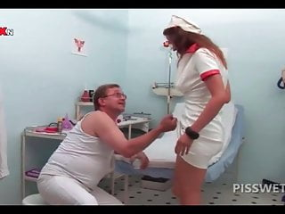 Pissing in a glass then drinking it Hot nurse pissing in a glass for gynecologists exam