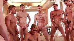 Orgy + bukkake - 9 guys getting dirty