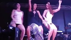 Busted! Hot brunette in a dress and no panties on the stage