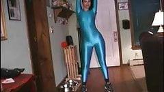 Brunette Spandex Bodysuit